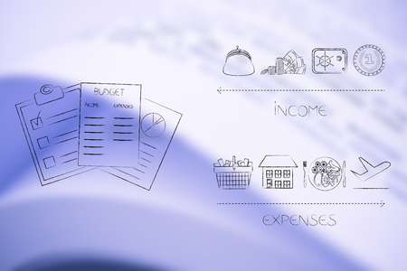 managing your budget conceptual illustration: documents next to income icons versus expenses below Stock Photo