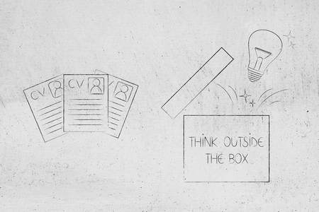 think outside the box conceptual illustration: cv documents next to open box with lightbulb Stock fotó
