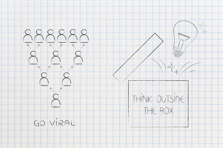 think outside the box conceptual illustration: go viral icon next to open box with lightbulb popping out