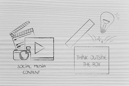 think outside the box conceptual illustration: social media content icon next to open box with lightbulb popping out Stock fotó