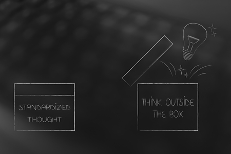 think outside the box conceptual illustration: standardized thought next to open box with lightbulb popping out Banco de Imagens