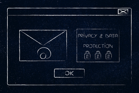 new data protection regulations conceptual illustration: pop-up window with email envelope next to  new privacy regulation text Stock Photo