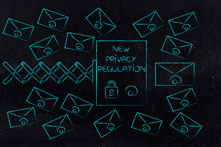 new data protection regulations conceptual illustration: new privacy regulation guide on spring surrounded by email envelopes
