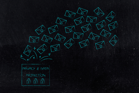 new data protection regulations conceptual illustration: privacy text with emails popping out of it