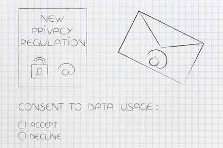 new data protection regulations conceptual illustration: privacy text next to email envelope and data usage consent question with accept or decline options