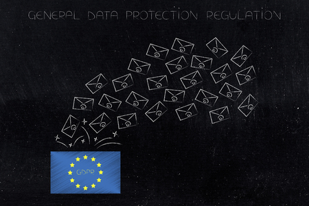 new general data protection regulation conceptual illustration: europe flag with GDPR text and bunch of emails going in or out of it