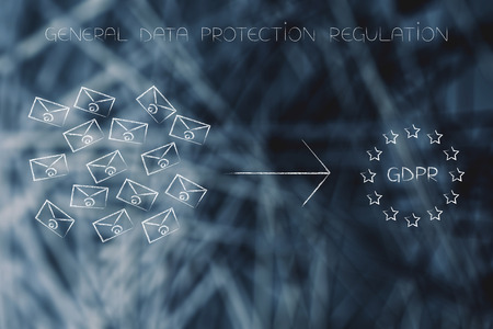 new general data protection regulation conceptual illustration: bunch of emails next to GDPR text with europe flag design