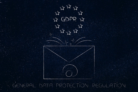 new general data protection regulation conceptual illustration: email envelope with GDPR text and europe icon coming out of it Stock Photo