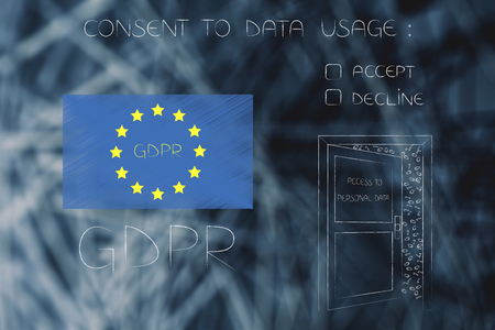 new general data protection regulation conceptual illustration: europe flag with GDPR text next to open door with access to personal data and conset question accept or decline Stock Photo