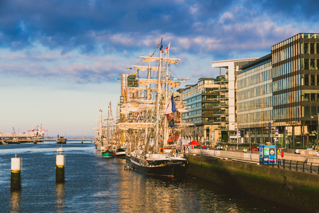 DUBLIN, IRELAND - June 2nd, 2018: heritage vessels along the river Liffey in Dublin docklands for the Tall Ships Regatta 2018 Editoriali
