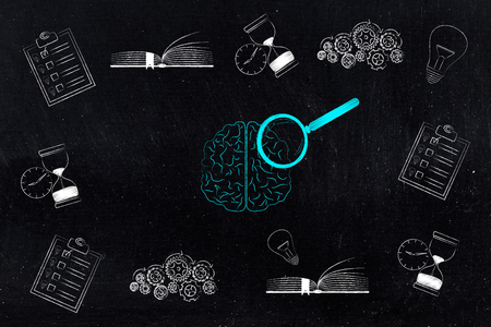 thoughts and memory conceptual illustration: brain with magnifying glass surrounded by memory-related icons from to do lists and light bulbs to gearwheels and books Stock Photo