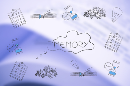 thoughts and memory conceptual illustration: comic bubble with text surrounded by memory-related icons from to do lists and light bulbs to gearwheels and books