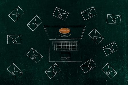 declutter uw inbox conceptuele afbeelding: laptop met afmeldknop omgeven door e-mailenveloppen