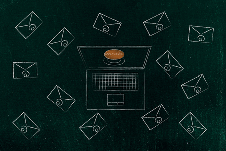 declutter your inbox conceptual illustration: laptop with Unsubscribe button surrounded by email envelopes Stockfoto