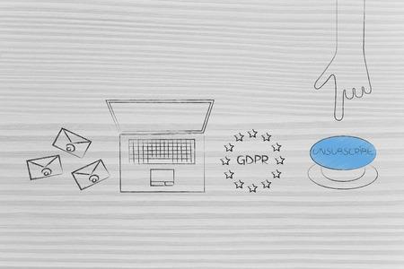 conceptuele illustratie van uw inbox opruimen: e-mails naast laptop en GDRP-pictogram naast de knop Afmelden wordt binnenkort ingedrukt Stockfoto