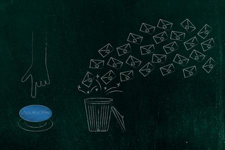 conceptuele illustratie van uw inbox opruimen: hand op het punt om op de knop Afmelden te drukken naast een groep e-mails die in een vuilnisbak vliegen