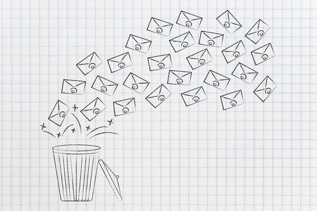 declutter your inbox conceptual illustration: group of emails going in or out of garbage bin