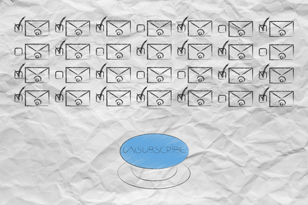 declutter your inbox conceptual illustration: group of emails with preference options ticked on and off and Unsubscribe button