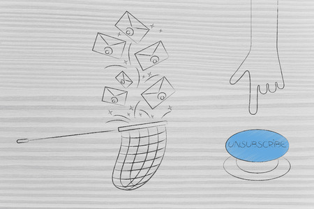 declutter your inbox conceptual illustration: emails falling into butterfly net next to hand about to push Unsubscribe button