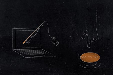 conceptuele afbeelding van uw inbox opruimen: hengel met e-mail uit laptop naast de hand op het punt om de knop Afmelden in te drukken