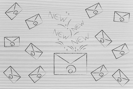 declutter your inbox conceptual illustration: email envelope with New texts going out of it surrounded by other email envelopes