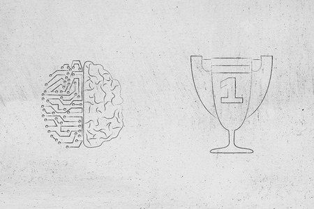 genius mind conceptual illustration:half digital half human brain next to 1st place competition winner trophy