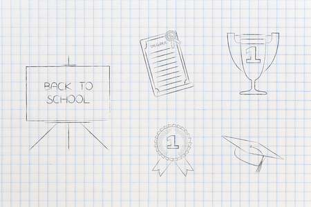 genius mind conceptual illustration: back to school blackboard next to group of education accomplishment icons from degree to trophy and from 1st place winner medal to graduation cap