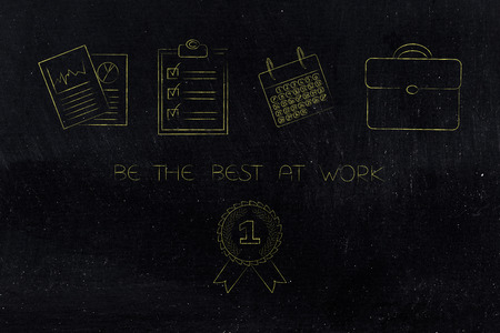 be the best at work conceptual illustration: 1st price winner ribbon under a group of office items lined up from stats documents to to do list and calendar with office bag Stock Photo