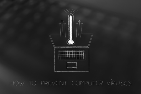 how to prevent or fix computer viruses conceptual illustration: laptop with thermometer popping out of the screen Stock Photo