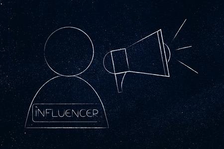 social media marketing conceptual illustration: influencer user with megaphone symbol of digital content popularity and brand ambassadors Stock Photo