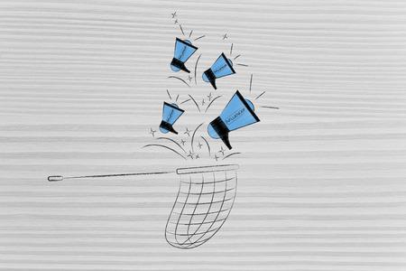 social media marketing conceptual illustration: influencer megaphones dropping into net Stock Photo