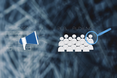 social media brand ambassadors conceptual illustration: influencer icon with posts and megaphone next real audience with magnifying glass on it Stock Photo