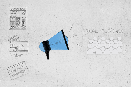 social media brand ambassadors conceptual illustration: digital content next to influencer megaphone and real audience