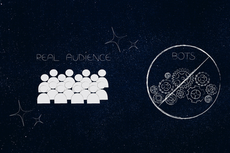 social media brand ambassadors conceptual illustration: real audience with sparkles next to barred bots Stock fotó
