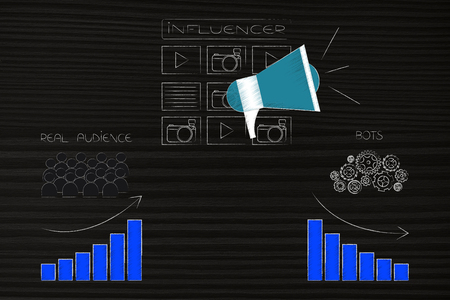 social media brand ambassadors conceptual illustration: influencer icon with posts and megaphone with real audience growth and bots unsuccess Stock fotó
