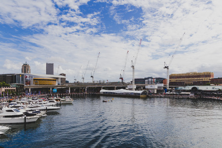 SYDNEY, AUSTRALIA - December 28th, 2014: close-up view of Darling Harbour in central Sydney