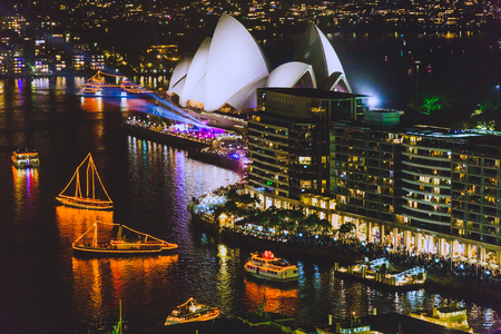 SYDNEY, AUSTRALIA - December 31th, 2014: Sydney Harbour and the Opera House during the NYE celebrations at night Editorial