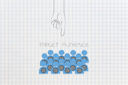 reaching the right customer conceptual illustration: target audience and hand pointing at it Stock Photo