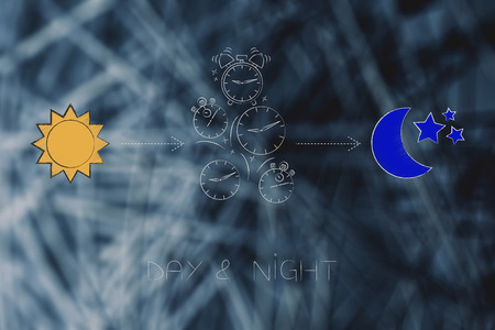 working shifts conceptual illustration: day and night icons with sun and moon and group of falling clocks in between