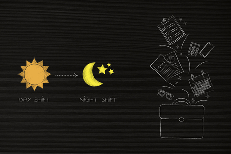 working shifts conceptual illustration: day shift icon with sun and night one with moon next to office bag with objets flying out