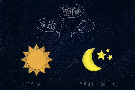 working shifts conceptual illustration: day shift icon with sun and night one with moon and office objects into comic bubbles above Stock Photo