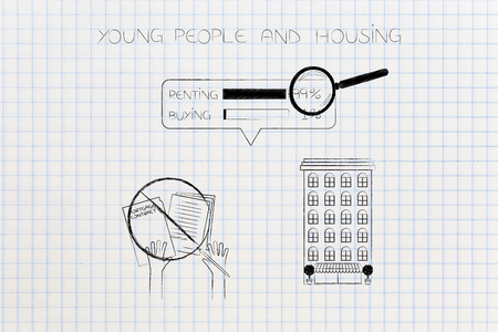 young people and housing conceptual illustration: condo apartment building next barred mortgage contrat and 99 per cent of people renting as survey result
