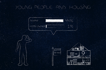 young people and housing conceptual illustration: doubtful person and house for rent in the distance with survey of 99 per cent of people being tenants instead of home-owners