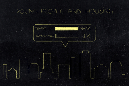 young people and housing conceptual illustration: city skyline with housing survey above it and 99 per cent of people being tenants not home-owners