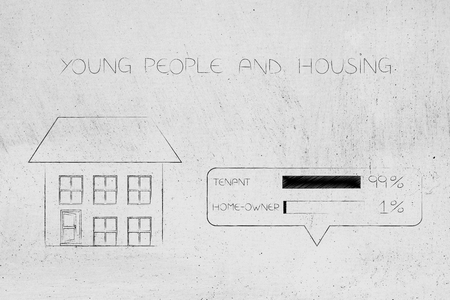 young people and housing conceptual illustration: detatched house next to survey with 99 per cent of people being tenants