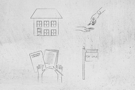 real estate market conceptual illustration: detached house next to key exchange and with mortgage contract next to for sale panel