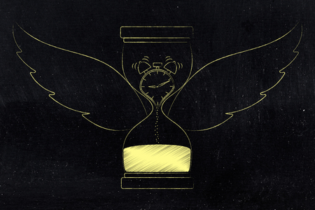 time flies conceptual illustration: hourglass with wings and clock melting into sand inside Stock Illustration - 104383399
