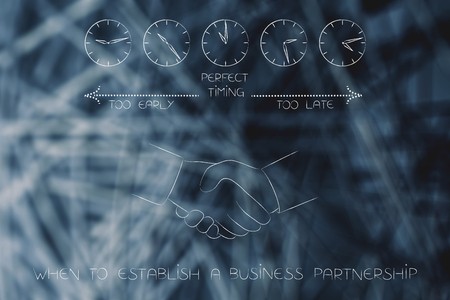business timing conceptual illustration: when to establish a business partnership with handshake and clocks with time passing by from too early to perfect timing to too late