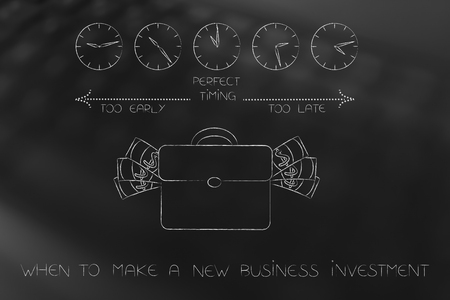 business timing conceptual illustration: when to make a new business investment with bag of cash  and clocks with time passing by from too early to perfect timing to too late Stockfoto