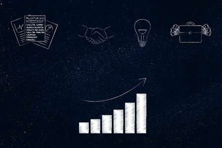 business timing conceptual illustration: office-related icons with positive company growth graph Stock Illustration - 104464271